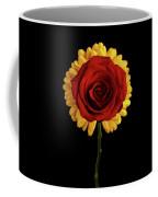 Rose On Yellow Flower Black Background Coffee Mug by Sergey Taran