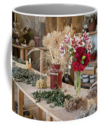Rustic Wooden Table With Various Herbs And Flowers Coffee Mug