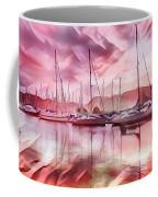 Sailboat Reflections At Sunrise Abstract Coffee Mug