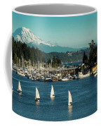 Sailboats At Gig Harbor Marina With Mount Rainier In The Background Coffee Mug