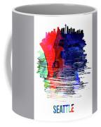 Seattle Skyline Brush Stroke Watercolor   Coffee Mug