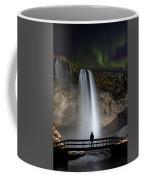 Seljalandsfoss Northern Lights Silhouette Coffee Mug