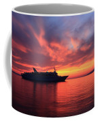 Ship At Mykonos Bay Mykonos Cyclades Greece  Coffee Mug