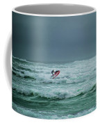 Shooting The Surf Coffee Mug by Judy Hall-Folde
