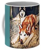 Siberian Huskies At Rest A22119 Coffee Mug by Mas Art Studio