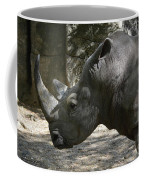 Side Profile Of A Large Rhinoceros With Two Horns  Coffee Mug