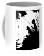 Silhouette Of A Boy Fishing With His Dog Coffee Mug by Rose Santuci-Sofranko