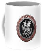 Silver Winged Norse Dragon - Icelandic Viking Landvaettir On Black And Silver Medallion Over White L Coffee Mug