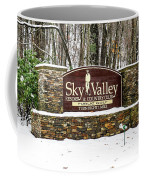 Sky Valley Georgia Welcome Sign In The Snow Coffee Mug