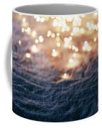 Snowy Winter Background With Fairy Lights. Coffee Mug