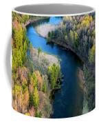 Springtime On The Manistee River Aerial Coffee Mug