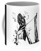 Steven Tyler Microphone Aerosmith Black And White Watercolor 01 Coffee Mug