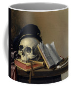 Still Life With Skull, Books, Flute And Pipe Coffee Mug