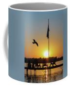 Sunset Dock Flag Silhouette Coffee Mug by Patti Deters