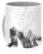 Sweet Jenny Bursting With Music In Black And White Coffee Mug by Nikki Marie Smith