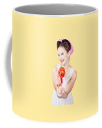 Sweet Lolly Shop Lady Offering Over Red Lollipop Coffee Mug