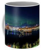 Swirly Aurora Over Stockholm And Gamla Stan Coffee Mug