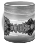 Sylvan Lake Reflections Black And White Coffee Mug by Mel Steinhauer