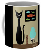 Tabletop Cat With Turquoise Lamp Coffee Mug by Donna Mibus