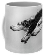 The Borzois, Black And White Sketch, 3 Russian Wolfhounds Coffee Mug