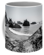 The Oregon Coast In Black And White Coffee Mug by Margaret Pitcher