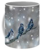 Three Blue Jays In The Snow Coffee Mug