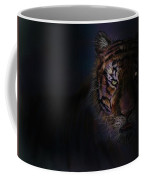 Tiger In The Dark Coffee Mug by Darren Cannell