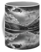 Topaz Lake Winter Reflection, Black And White Coffee Mug