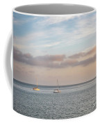 Two Sail Boats In Ocean Sea Facing The Sunset During The Golden  Coffee Mug