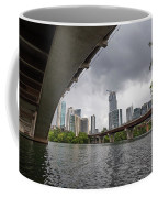 Urban Skyline Of Austin Buildings From Under Bridge With Stormy  Coffee Mug