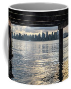 View Of Downtown Seattle At Sunset From Under A Pier Coffee Mug