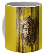 Viking Mask On Old Door Coffee Mug