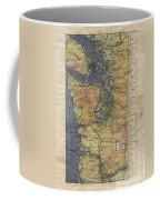 Vintage Auto Map Western Washington Olympic Peninsula Hand Painted Coffee Mug