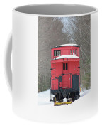 Vintage Red Caboose In Winter Coffee Mug