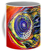 Violet Fish On Red And Yellow Coffee Mug