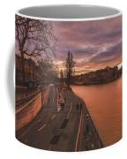 Walking Along The Seine At Sunset Coffee Mug