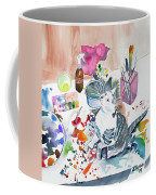 Watercolor - Kitten On My Painting Table Coffee Mug