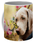 Weimaraner Puppy With Butterfly - Painting Coffee Mug by Ericamaxine Price