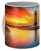 Welsh Lighthouse Sunset Coffee Mug by Adrian Evans
