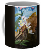 White Flower With Abstract Background Coffee Mug