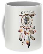 Wild And Free Wolf Spirit Dreamcatcher Coffee Mug