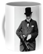 Winston Churchill With Tommy Gun Coffee Mug