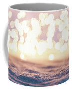 Winter Background With Snow And Fairy Lights. Coffee Mug