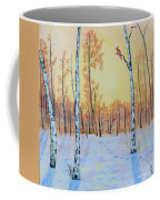 Winter Birches-cardinal Right Coffee Mug