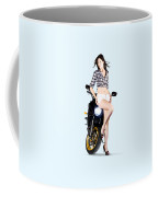 Woman Leaning On A Motorbike Coffee Mug