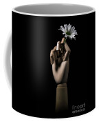 Wooden Hand Holding Flower Coffee Mug