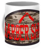 Worn Barber Shop Wooden Store Sign Coffee Mug