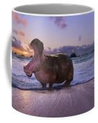 Yawning Coastal Hippo Hello Coffee Mug