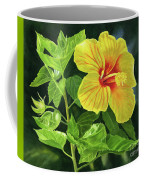 Yellow Hibiscus With Bright Green Leaves Coffee Mug