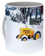Yellow Tractor In The Snow Coffee Mug